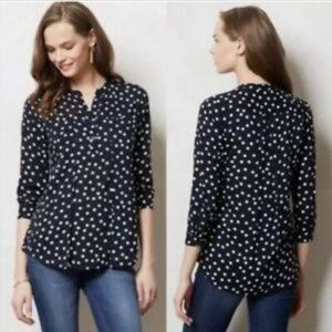 Anthro Maeve Brunia Dot Henley Popover Top Navy S